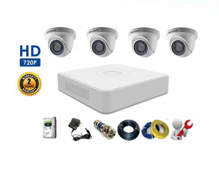Bộ 4 Camera Dome HIKVISION 1.0MP