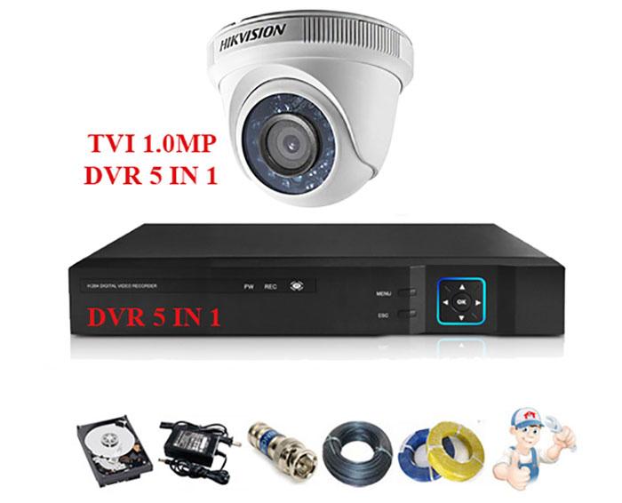 Image Bộ 1 camera Hikvision bán cầu hồng ngoại 1.0MP