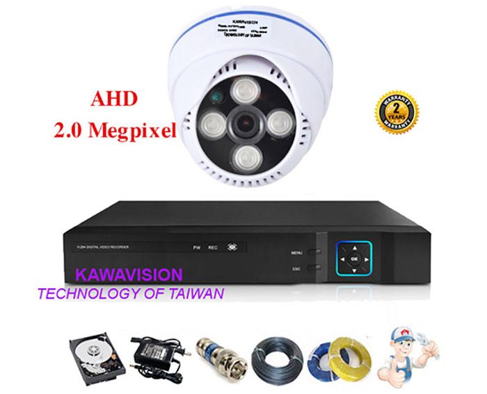 Bộ 1 camera KAWAVISION dome hồng ngoại 2.0 MP
