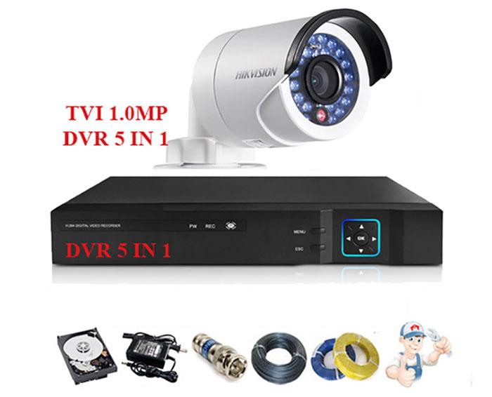 Bộ 1 camera Hikvision thân trụ hồng ngoại 1.0MP